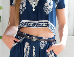 Blue Tribe Pattern Short Sleeve Top With High Waist Shorts Choies.com online fashion store United Kingdom Europe