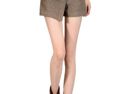 Brown Button Front Layered Shorts Choies.com online fashion store United Kingdom Europe