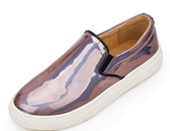 Brown Holographic Stretch Insert Slip On Sneakers Choies.com online fashion store United Kingdom Europe