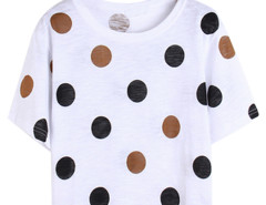 Brown Polka Dot Print Short Sleeve Crop Top Choies.com online fashion store United Kingdom Europe