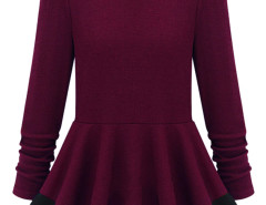 Burgundy Color Block Peplum Blouse Choies.com online fashion store United Kingdom Europe