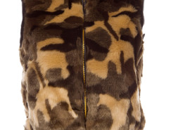 Camo Faux Fur Waistcoat with Knitted Rib Details Choies.com online fashion store United Kingdom Europe