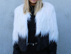 Color Block Long Sleeve Shaggy Faux Fur Coat Choies.com online fashion store United Kingdom Europe