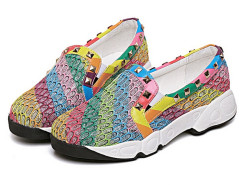 Colorful Studded Hollow Out Detail Slip-on Flatform Sneakers Choies.com online fashion store United Kingdom Europe