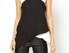 Contrast Color Cross High Low Blouse Choies.com online fashion store United Kingdom Europe