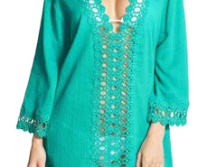 Cyan Crochet V Neck Semi-sheer Poncho Cover Up Blouse Choies.com online fashion store United Kingdom Europe