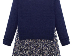 Dark Blue Floral Print Loose Dress With Long Sleeve Choies.com online fashion store United Kingdom Europe