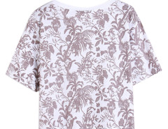 Dark Gray Floral Leaves Print Short Sleeve Crop Tee Choies.com online fashion store United Kingdom Europe