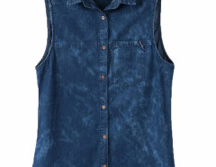 Deep Blue Sleeveless Denim Shirt Choies.com online fashion store United Kingdom Europe