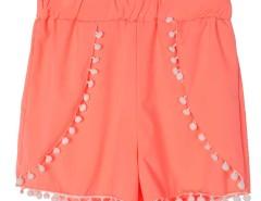 Fluorescein Orange Elastic Waist Pom Pom Shorts Choies.com online fashion store United Kingdom Europe