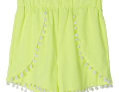 Fluorescein Yellow Elastic Waist Pom Pom Shorts Choies.com online fashion store United Kingdom Europe