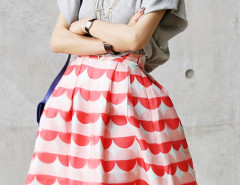Gray Batwing Sleeve T-shirt And High Waist Circle Print Skirt Choies.com online fashion store United Kingdom Europe