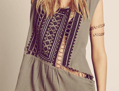 Gray Boho Cut Out Bead Embroidery Sleeveless Dress-top Choies.com online fashion store United Kingdom Europe