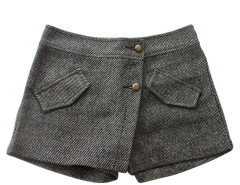 Gray Button Front Layered Shorts Choies.com online fashion store United Kingdom Europe