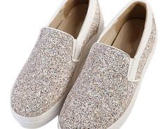 Gray Contrast PU Stretch Insert Flatform Slip On Sneakers Choies.com online fashion store United Kingdom Europe