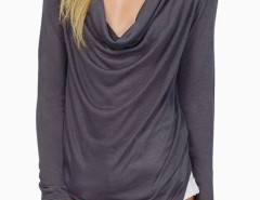 Gray Cowl Collar Long Sleeve T-shirt With Irregular Hem Choies.com online fashion store United Kingdom Europe