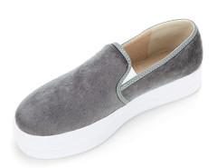 Gray Faux Pony Effect Flatform Plimsolls Choies.com online fashion store United Kingdom Europe