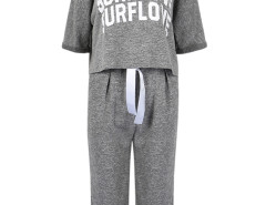 Gray Letter Print T-shirt With Tie Waist Ruched Pants Choies.com online fashion store United Kingdom Europe
