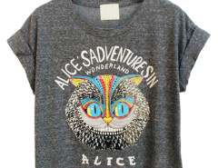 Gray Owl and Letter Print Crop Tee Choies.com online fashion store United Kingdom Europe