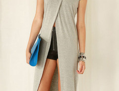 Gray Split Front Short Sleeve Long T-shirt Choies.com online fashion store United Kingdom Europe