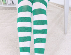 Green And White Stripe Print Over the Knee Socks Choies.com online fashion store United Kingdom Europe