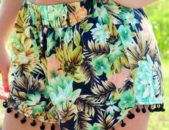 Green Floral Elastic Waist Pom Pom Shorts Choies.com online fashion store United Kingdom Europe