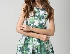 Green Floral High Waist Sleeveless Skater Dress Choies.com online fashion store United Kingdom Europe