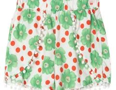 Green Floral Print Elastic Waist Pom Pom Shorts Choies.com online fashion store United Kingdom Europe