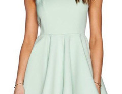 Green V Back Sleeveless Skater Dress Choies.com online fashion store United Kingdom Europe