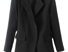 Lapel Pocket Longline Blazer in Black Choies.com online fashion store United Kingdom Europe