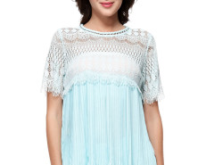 Light Blue Eyelash Lace Panel Ruffle Pleat Blouse Choies.com online fashion store United Kingdom Europe