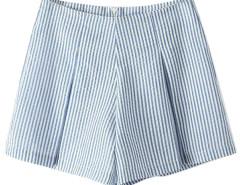 Light Blue High Waist Stripes Shorts Choies.com online fashion store United Kingdom Europe