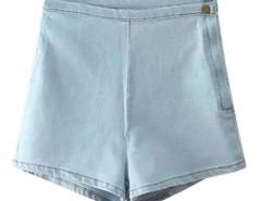 Light Blue Side Zipper Elastic Denim Bodycon Shorts Choies.com online fashion store United Kingdom Europe
