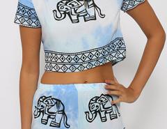 Light Blue Tie Dye Elephant Print Crop Top With Elastic Waist Shorts Choies.com online fashion store United Kingdom Europe