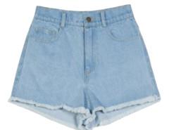 Light Blue Trim Fringe Denim Shorts Choies.com online fashion store United Kingdom Europe
