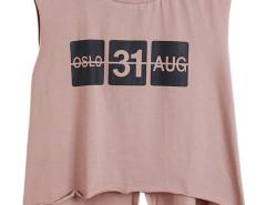 Lignt Brown Letter Print Asymmetric Hem Back Slit Sleeveless Vest Choies.com online fashion store United Kingdom Europe