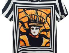 Monochrome 3D Unisex Striped Mask Queen Print T-shirt Choies.com online fashion store United Kingdom Europe