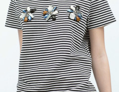 Monochrome Stripe Gemstone Detail Short Sleeve T-shirt Choies.com online fashion store United Kingdom Europe