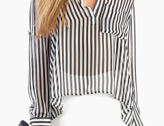 Monochrome Striped Semi-sheer Shirt Choies.com online fashion store United Kingdom Europe