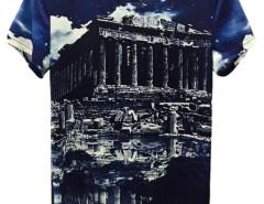 Multicolor 3D Unisex Akropolis And Sky Print T-shirt Choies.com online fashion store United Kingdom Europe