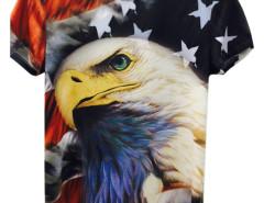 Multicolor 3D Unisex Bald Eagle And USA Flag Print T-shirt Choies.com online fashion store United Kingdom Europe