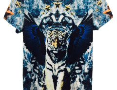 Multicolor 3D Unisex Crown Tiger And Five Star Print T-shirt Choies.com online fashion store United Kingdom Europe