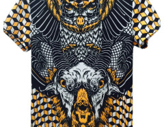 Multicolor 3D Unisex Geometric Goat And Owl Print T-shirt Choies.com online fashion store United Kingdom Europe