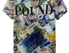 Multicolor 3D Unisex POUND Print Short Sleeve T-shirt Choies.com online fashion store United Kingdom Europe