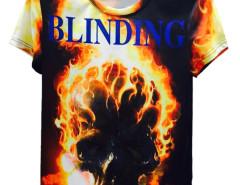 Multicolor BLINDING Burning Skull Print Short Sleeve T-shirt Choies.com online fashion store United Kingdom Europe
