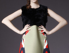Multicolor Faux Fur Paneled Sleeveless Dress Choies.com online fashion store United Kingdom Europe