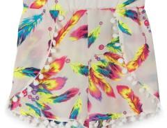 Multicolor Feather Print Elastic Waist Pom Pom Shorts Choies.com online fashion store United Kingdom Europe