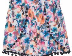 Multicolor Floral Print Elastic Waist Pom Pom Shorts Choies.com online fashion store United Kingdom Europe