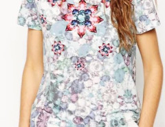Multicolor Gemstone Pattern Short Sleeve T-shirt Choies.com online fashion store United Kingdom Europe