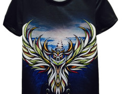 Multicolor Owl Print Short Sleeve T-shirt Choies.com online fashion store United Kingdom Europe